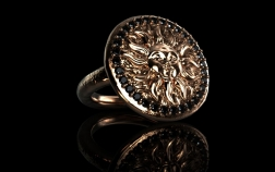 Ring Sun Rosègold 750er black diamaonds